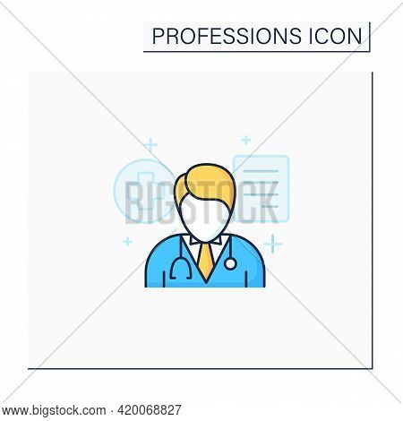 Doctor Color Icon. Professional. Treatment Patients.health Protector.important Job. Professions Conc