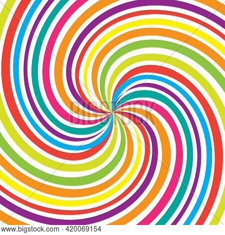 Colorful Spiral Swirl Vortex On White Background