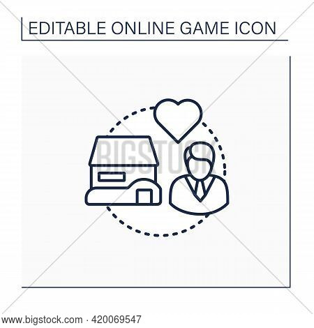 Life Simulator Line Icon.simulation Video Games. Lives And Controls Virtual Human Characters. Create