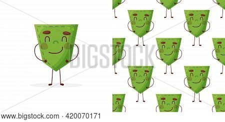 Seamless Pattern Cucumber-shaped Patch Pocket. Character Pocket Cucumber. Cartoon Style. Design Elem