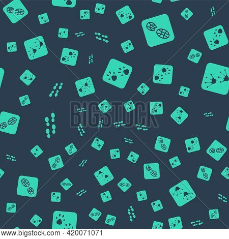 Set Paw Print, Human Footprints Shoes, And Frog Paw On Seamless Pattern. Vector