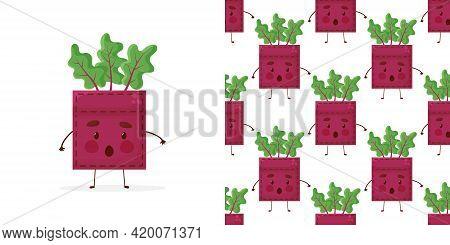 Seamless Pattern Beet-shaped Patch Pocket. Character Pocket Beet. Cartoon Style. Design Element. Tem