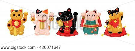 Japanese Collection Of Maneki Neko Cats In The Kartun Style. Traditional White Doll Of A Happy Cat W