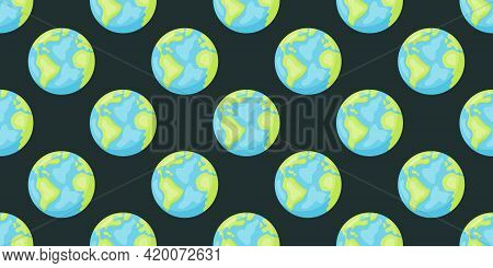 Stylized Planets Earth Abstract Seamless Space Pattern Background. Solar System Planets Children Wal