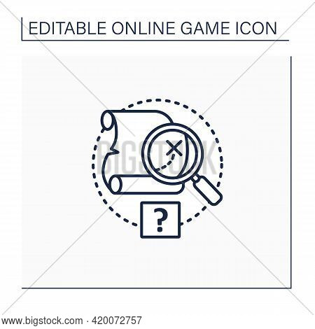 Quest Line Icon. Solving Mysteries. Using Maps To Find Right Path. Adventure. Searching Dangerous. O