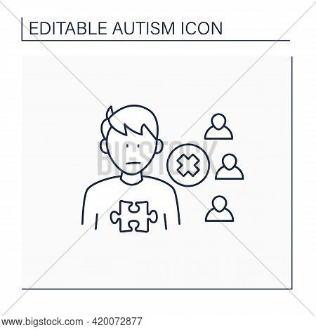 Neurodevelopmental Disorder Line Icon.social Withdrawal.social Isolation.avoiding People And Activit