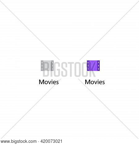 Movies Icon Vector. Film Movie, Filmstrip Symbol Of Channel