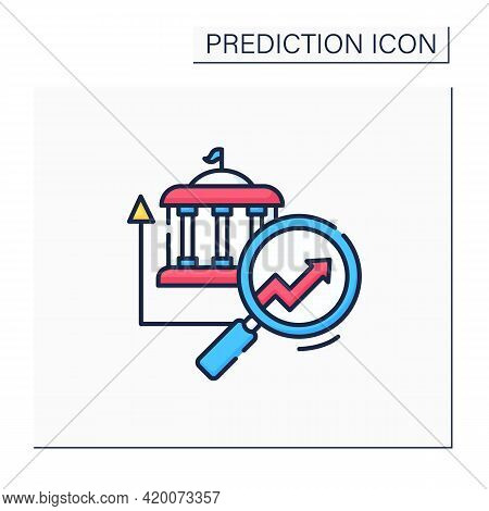 Government Predictive Analytics Color Icon. Detailed Automation Research. Business Predicting Concep