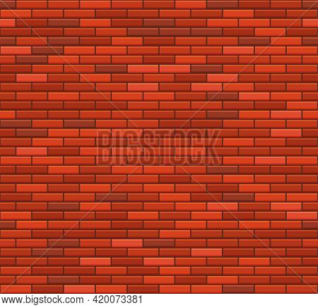 Old Red Brick Wall Seamless Pattern. Vector