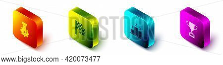 Set Isometric Derailleur Bicycle Rear, Checkered Flag, Award Over Sports Winner Podium And Cup With