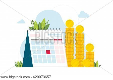 Calendar And A Bunch Of Coins. Capitalization Of A Company Web Banner Or Landing Page. Appraisal Of