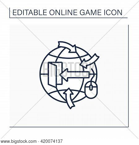 Open-world Game Line Icon. Players Move Freely In Virtual World. Change Certain Things. Online Game