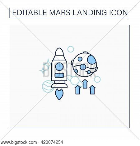 Mars Mission Line Icon. Responsible Research And Development Mission. Observe Planet.mars Landing Co