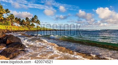 Panoramic View Of Poipu Beach In Afternoon Light, Kauai.