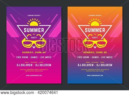 Summer Party Design Poster Or Flyer Night Club Event