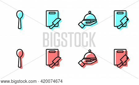 Set Line Covered With Tray, Spoon, Cutting Board And Knife And Meat Chopper Icon. Vector