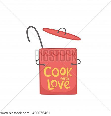 Cooking Lettering Quote On Kithenware, Cookware. Handwriting Quotes, Vector Stock Illustration Isola