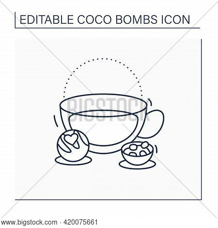 Coco Bomb Line Icon. Delicious Dessert. Cute Ball Of Chocolate With Marshmallows Filling Inside. Bom