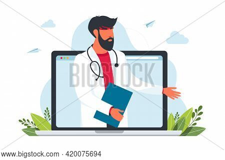 Online Doctor Consultation From Laptop. Online Consultation Of A Family Doctor. Remote Medical Care.