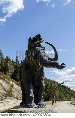 Statue Of Mammoth. Hunty-mansiysk City, Russia - May 3, 2021
