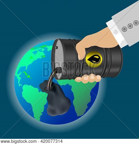 Black Barrel In Hand  From Which Oil Spills. Oil Pollution Of The Earth Concept. Technogenic Catastr