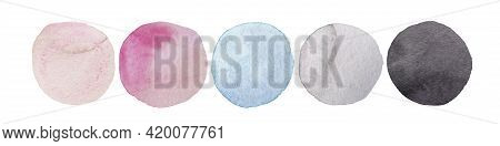 Wedding Colors Palette. Watercolor Dots Set. Hand Painted Spots Isolated On White Background. Circle