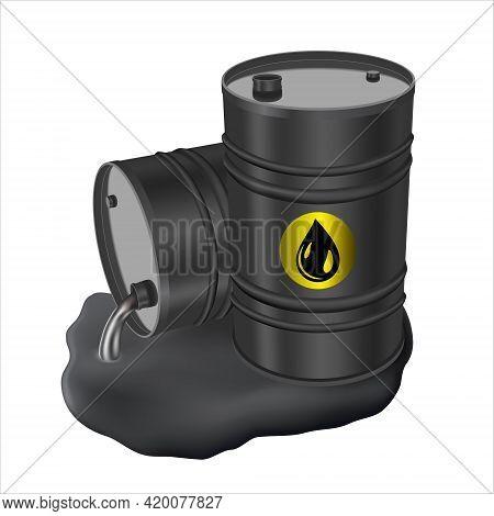 Black Metal Barrels And Spilled Oil. Concept Of Pollution. Ecology And Business. 3d Illustration On