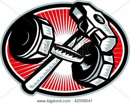 Dumbbell And Sledgehammer Retro