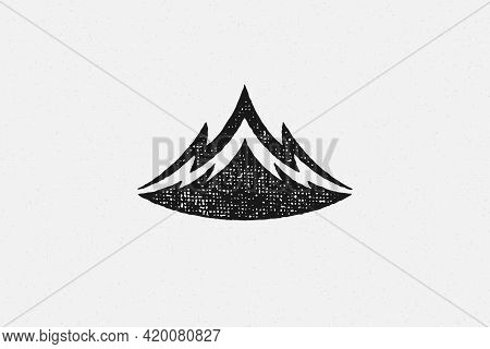 Silhouette Mountain Range And Ravine As Symbol Of Nature Exploration Hand Drawn Stamp Effect Vector