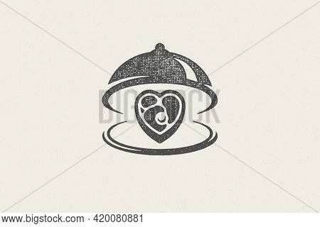 Heart Shape Beef Steak Silhouette Served On Tray With Open Cloche Hand Drawn Stamp Effect Vector Ill
