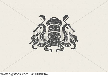 Octopus Silhouette In Chef Hat With Cooking Tools For Seafood Restaurant Hand Drawn Stamp Effect Vec