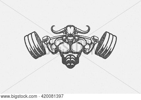 Sportsman Silhouette With Bull Head Lifting Barbell Hand Drawn Stamp Vector Illustration