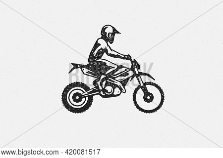 Man Rider On Motocross Motorcycle Silhouette Hand Drawn Ink Stamp Vector Illustration.