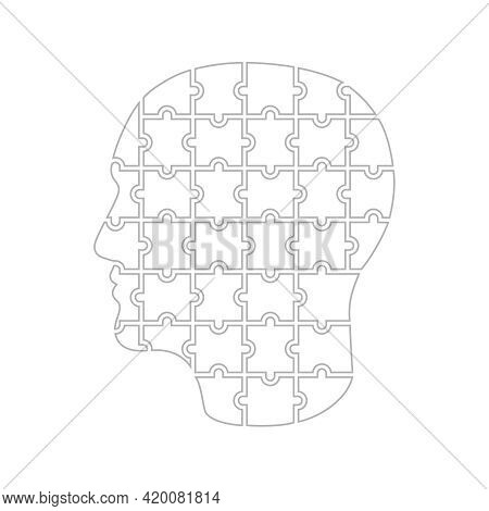 Man Head From Puzzles. Man Collected From Puzzle Graphic Sign Isolated On White Background. Puzzle M