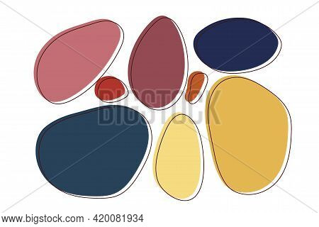 Modern Abstract Vector Shape Set. Flat Geometric Shapes Of Different Colors With Outline. For Wall A