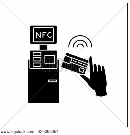Nfc Glyph Icon. Safety Credit Card Payment. Paying Bills. Bank Terminal. Near Field Communication. C