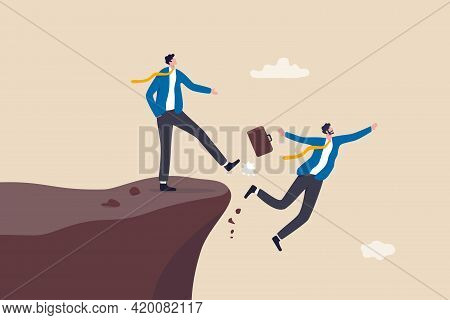 Business Dishonesty, Betrayal Or Jealousy Colleague, Career Competitor Or Cheating Concept, Business