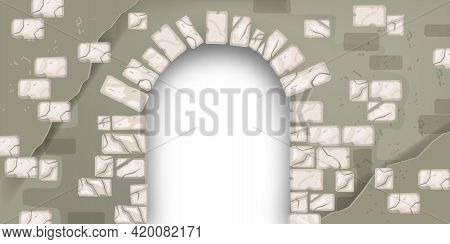 Stone Vector Medieval Arch, Vintage Brick Wall, Cracked Portal Castle Texture, Ancient Architecture