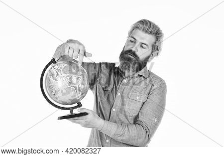 Geography Teacher. Earth Globe. Pick Next Destination Point. Travel And Wanderlust. Bearded Man With