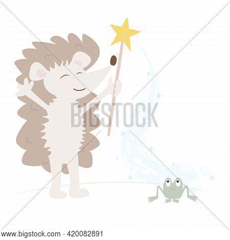Childrens Print. A Hedgehog With A Magic Wand. Magic Pollen Transforms A Frog