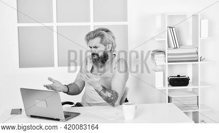Man Typing On Computer. Lazy Sedentary Lifestyle. Man At Workplace Use Technology. Working Freelance