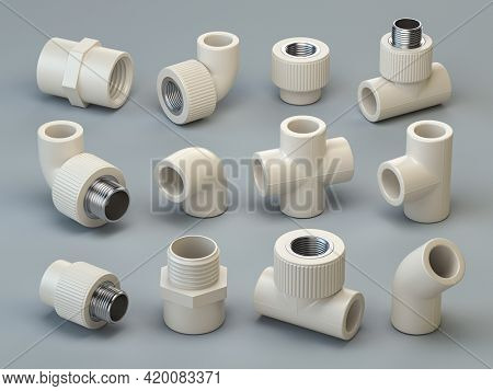 Set of PVC pipe fittings on grey background. 3d illustration