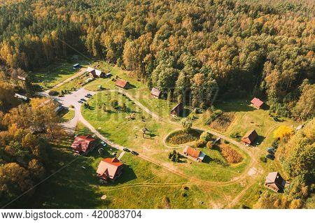 Belarus, Berezinsky Biosphere Reserve. Birds-eye View Of Guest House Nivki In Autumn Sunny Day. Pano