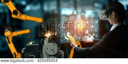 Advanced Robot Arm System For Digital Industry And Factory Robotic Technology . Automation Manufactu