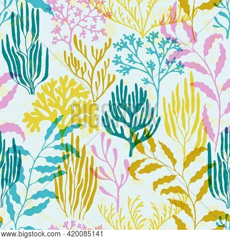Ocean Corals Seamless Pattern., Tropical Coral Reef Branch Silhouette Elements.