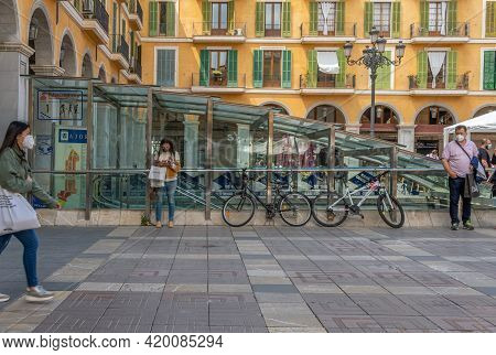 Palma De Mallorca, Spain; April 13 2021: General View Of The Plaza Mayor, In The Historic Center Of