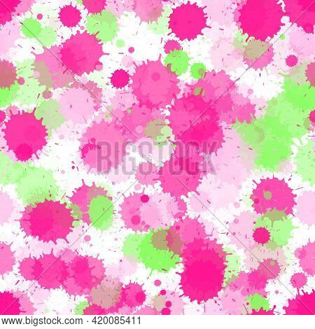 Watercolor Paint Transparent Stains Vector Seamless Grunge Background. Scribble Ink Splatter, Spray
