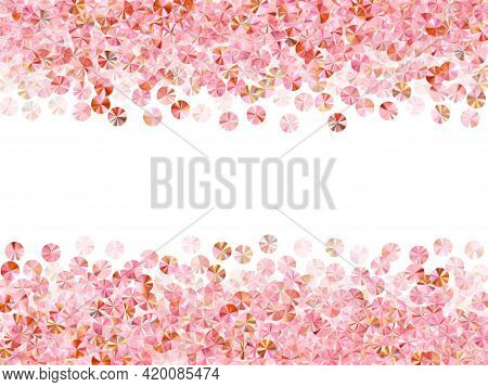 Pink Gold Sequin Confetti Placer Vector Composition. Birthday Anniversary Greeting Card Background.