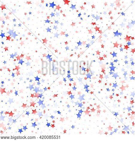 American Patriot Day Stars Background. Holiday Confetti In Us Flag Colors For President Day. Simple