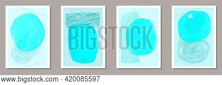 Hand Painted Modern Canvas Vector Set. Watercolor Splats Backgrounds. 60s Style Prints. Youth Home D